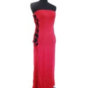 Red strapless dress with side cutouts